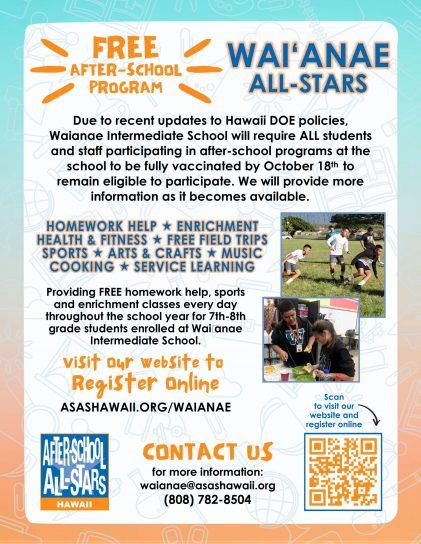 2021-22 Program Promo Flyer - Waianae with Vac Info